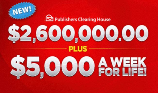 sweepstakes clearinghouse vouchers publishers clearing house 2 6 million sweepstakes 5961